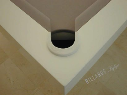 Billard Arcade laqué blanc – Poche en cuir blanc