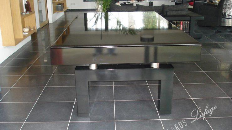 Billard Arcade transformable en table laqué noir 2m30 drap rouge avec plateau