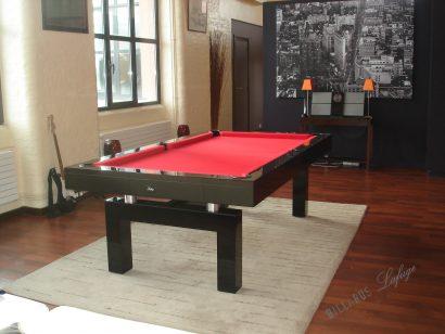 Billard Arcade laqué noir 2m30 tissu rouge