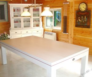 Billard EOS transformable en table, en chêne blanchi