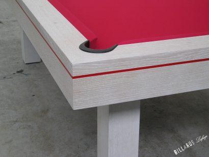 Billard Soho chêne céruse avec liseré rouge
