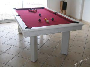 Billard Elégance laqué en blanc mat avec tapis burgundy